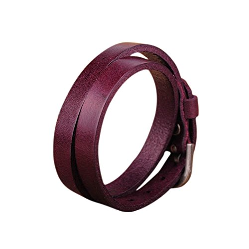 Zen Styles Purple Biker Rock Classic Double Wrap Leather Cowhide Buckle Bracelet - Round Cuff Bracelet with Easy Hook Clasp for Men. Fashion Accessories
