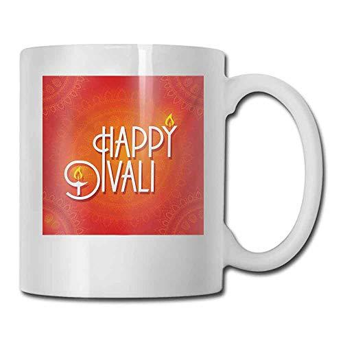 Ceramic Porcelain Mug Diwali Happy Diwali Wish Festive Celebration Artsy Candles Fires Paisley Backdrop Print Color Elegant 11 oz Red and ()