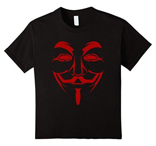 Kids Guy Fawkes Mask Costume T-Shirt 10 Black -