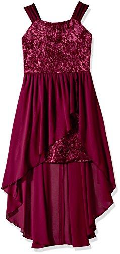 Amy Byer Girls' Big Paisley Velvet Dress with Overlay, Bordeaux, 7 ()