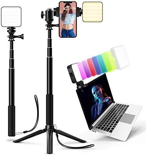 Video Conference Lighting Kit,Laptop Webcam Lighting with Clip,LED Camera Light Panels for Photography,Zoom Meeting,Remote Working,Studio,Streaming,Self Broadcasting and Vlog(Dimmable&Rechargeable)