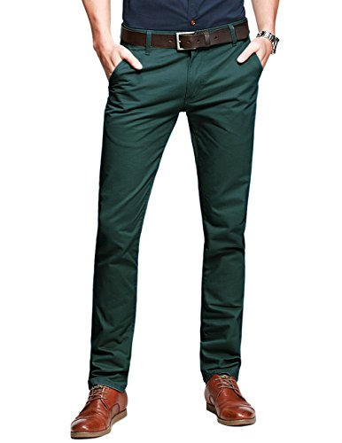 Match Mens Slim-Tapered Flat-Front Casual Pants(32W x 31L,Dark Moss Green) by Match