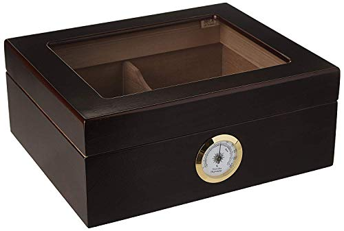 CLAIMER Desktop Humidor, Capri, with Tempered Glasstop, Cedar Divider, and Brass Ring Glass Hygrometer, Holds 25 to 50 Cigars