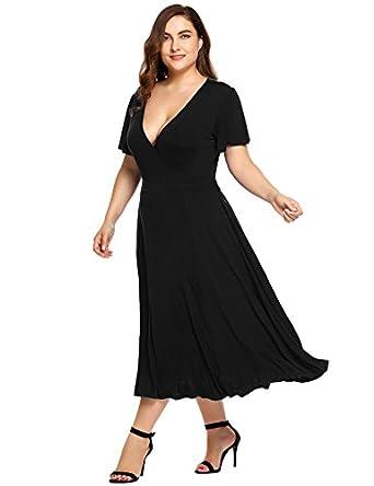 Plus Size Womens Midi Swing Bridesmaid Dresses Vintage Casual