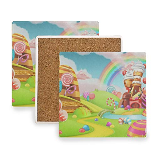 Sweet Cute Dessert Rainbow Candy Chocolate Coasters,Protection for Granite,Glass,Soapstone,Sandstone,Marble,Stone Table - Perfect Cork Coasters,Square Cup Mat Pad for Home,Kitchen or Bar 1 Piece