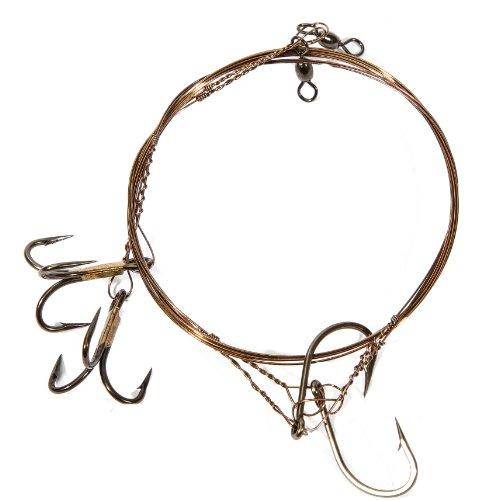 (Boone Single Hook 2/0 Live Bait Rig (Pack of 2), 1# 2 Treble Hook)
