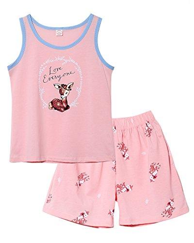 Jashe Girls Tank Top and Shorts Cotton Pajama Set Teens Cute Sleepwear Big Kids Size 12 14 16 18 ()