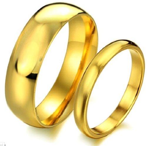 bigsoho Anillo para hombre mujer oro Gallay Pulido Anillos de Compromiso Anillo de Matrimonio Partner Anillo