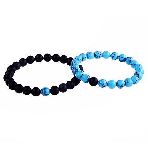 8mm Natural Healing Yoga Black Onyx and Turquoise for Men Women Beaded Bracelets