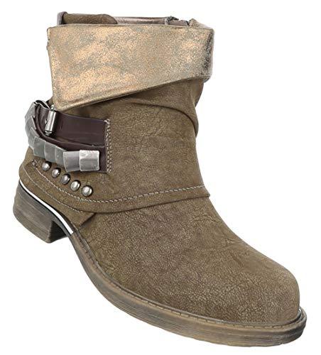 Elegante Boots Optik Khaki 36 Fashion Damen Leder Stiefeletten Schuhe Kuzschaft 41 Booties Blockabsatz FaZCwBq