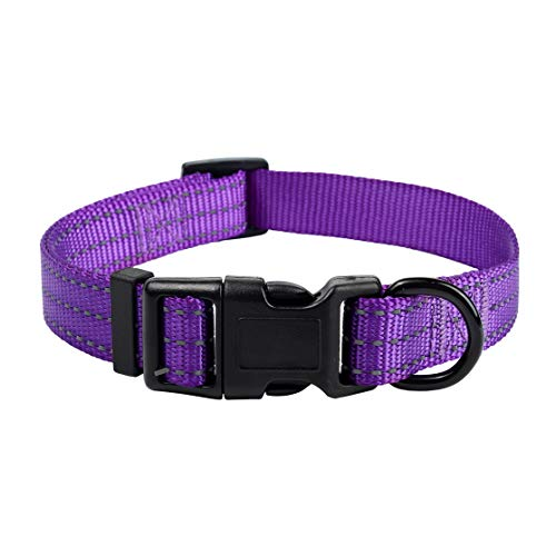 "Mile High Life Dog Collar | Nylon with Reflective Three 3M Straps | Purple, X-Small Neck 9""-13"" -20 lb"