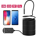 BlueFire Upgraded 1080P 5.5mm Semi-Rigid Inspection Camera, 2 MP HD WiFi Borescope Snake Camera, Zoomable Focus 1800mAh Battery Wireless Endoscope for Android and iOS Smartphone, Tablet (33FT)