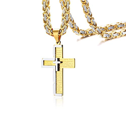 MEALGUET Stainless Steel Our Father Lord's Prayer English Bible Engraved Cross Pendant Necklace for Men with Byzantine Chain -