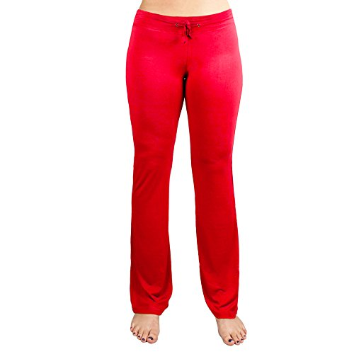 Crown Sporting Goods Soft & Comfy Yoga Pants – 95% Cotton/5% Spandex Blend (Red, S)