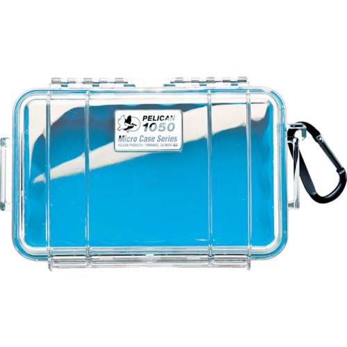 Waterproof Case | Pelican 1050 Micro Case - for iPhone, Cell Phone, GoPro, Camera, and More (Blue/Clear) ()