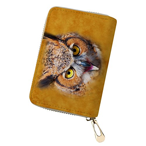 owl Card Wallet Holder Brown Card Credit Coin Animal Leather Purse H6wgFqxwz