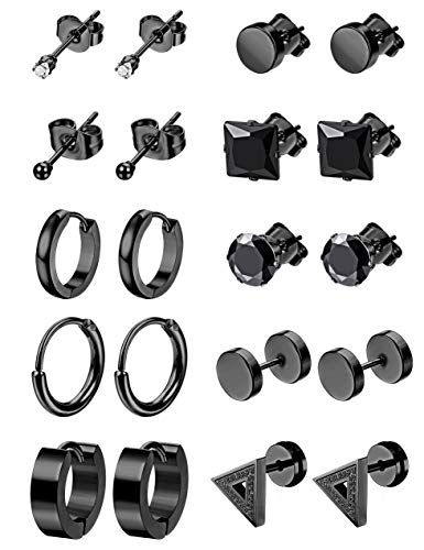LOYALLOOK 10Pairs Stainless Steel Earrings For Men Tiny Ball Stud Earrings Cartilage Earrings Endless Earrings For Men Boys Black -