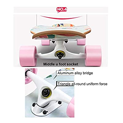 SHATONG Longboard Four-Wheel Double-warp Road Skateboard Adult Professional 4-Wheel Scooter Surfing Flat Boys and Girls Dance Board Beginner Student Teens Sports Deck (Color : B) : Sports & Outdoors