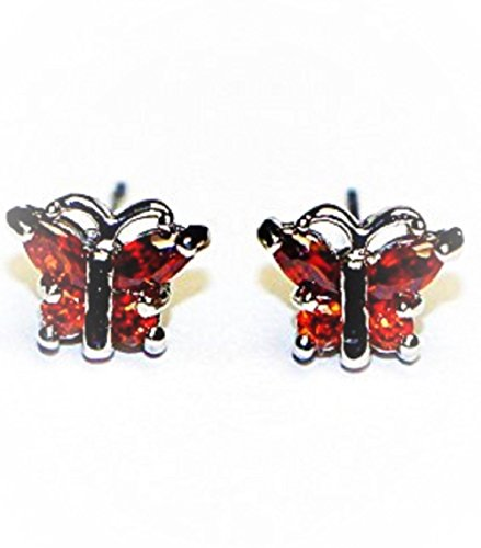 Buyless Fashion Surgical Steel Rhodium Plated Butterfly Shape Cubic Zirconia Birthstone Earrings-July (Bullet Cartilage Earring compare prices)