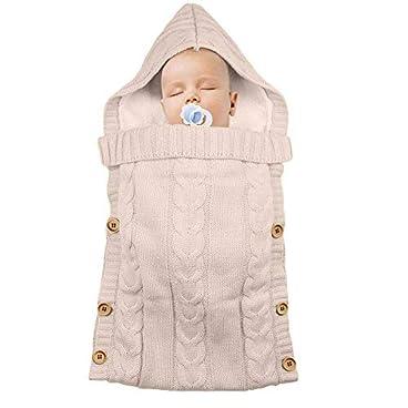 Schlafsäcke Baby Winter,Neugeborenes Baby Gestrickt Wickeln Swaddle Decke Kinderwagen Schlafsack für 0-24 Monat Baby (Rosa B, 38 * 70cm)