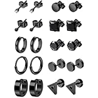 LOYALLOOK 6-12Pairs Stainless Steel Earrings For Men CZ Stud Earring Tiny Ball Stud Earrings Cartilage Earrings Endless Hoop Earrings For Men Boys