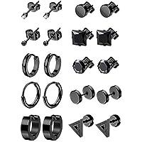LOYALLOOK 6-10Pairs Stainless Steel Earrings For Men CZ Stud Earring Tiny Ball Stud Earrings Cartilage Earrings Endless Hoop Earrings For Men Boys