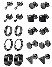 LOYALLOOK 6-10Pairs Stainless Steel Earrings For Men CZ Stud Earring Tiny Ball Stud Earrings Cartilage Earrings Endless Hoop Earrings For Men Boys