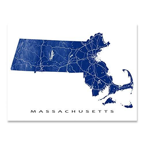 Massachusetts Map Art Print, MA State Outline, USA Poster, Boston, Cape Cod, ()