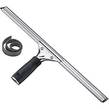 Unger Professional Steel Squeegee with Bonus Rubber, 16