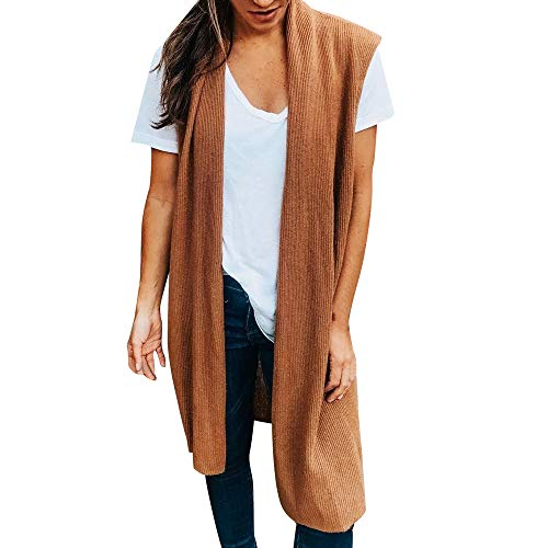Kimono Lulu (Sunhusing Women's Solid Color Sleeveless Gilet Vest Cardigan Open Front Pocket Casual Lightweight Kimono Coat)