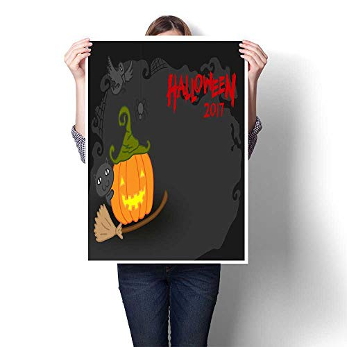 Abstract painting Halloween pumpkin jack o lantern costume set witch concept idea and halloween text illustration isolated on dark scary backgroun Decorative Fine Art canvas Print Poster K 20