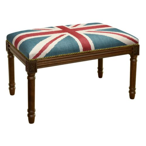BENCHES - UNION JACK UPHOLSTERED BENCH - VANITY BENCH - WOOD STAIN (Kensington Bedroom Collection)