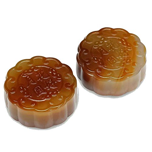 2pcs Collection Chinese Yellow Jade Carving Moon Cake