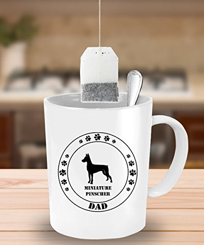 Man Legged Costume One (Miniature Pinscher Dog Dad Gift - White Coffee Mug - 15 oz Novelty Tea Cup -)