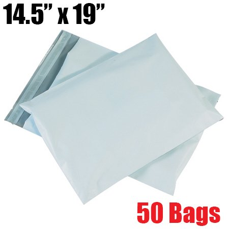 Poly Bags Mailing - iMBAPrice 50 - 14.5x19 Premium Matte Finish Self-Sealing Non-Padded White Poly Mailers/Mailing Envelopes/Bags (iMBA-6PM-50)