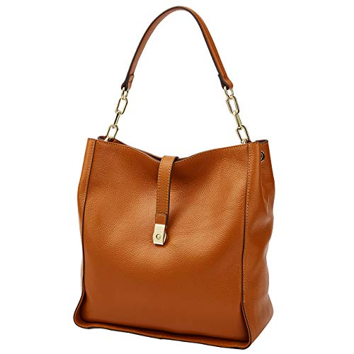 Genuine Leather Handbags for Women Soft Hobo Bag Supple Bucket Bag Totes Shoulder Handbags (brown-) Brown Italian Leather Handbag