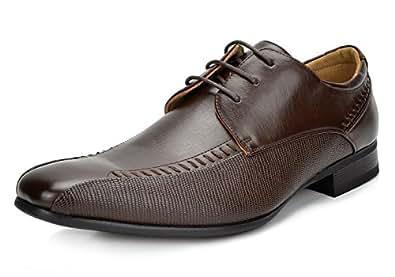 Bruno Marc Men's Gordon-01 Dark Brown Leather Lined Snipe Toe Dress Oxfords Shoes - 6.5 M US