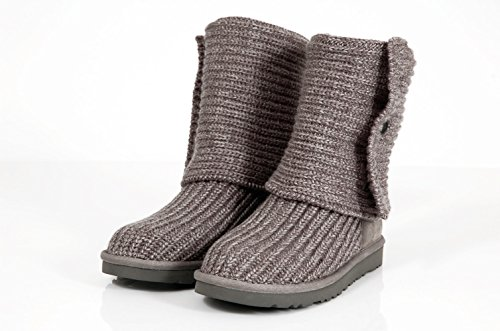 Ugg Australia Classic Cardy Grey Wool Boots with buttons-Botas de lana con botones. gris