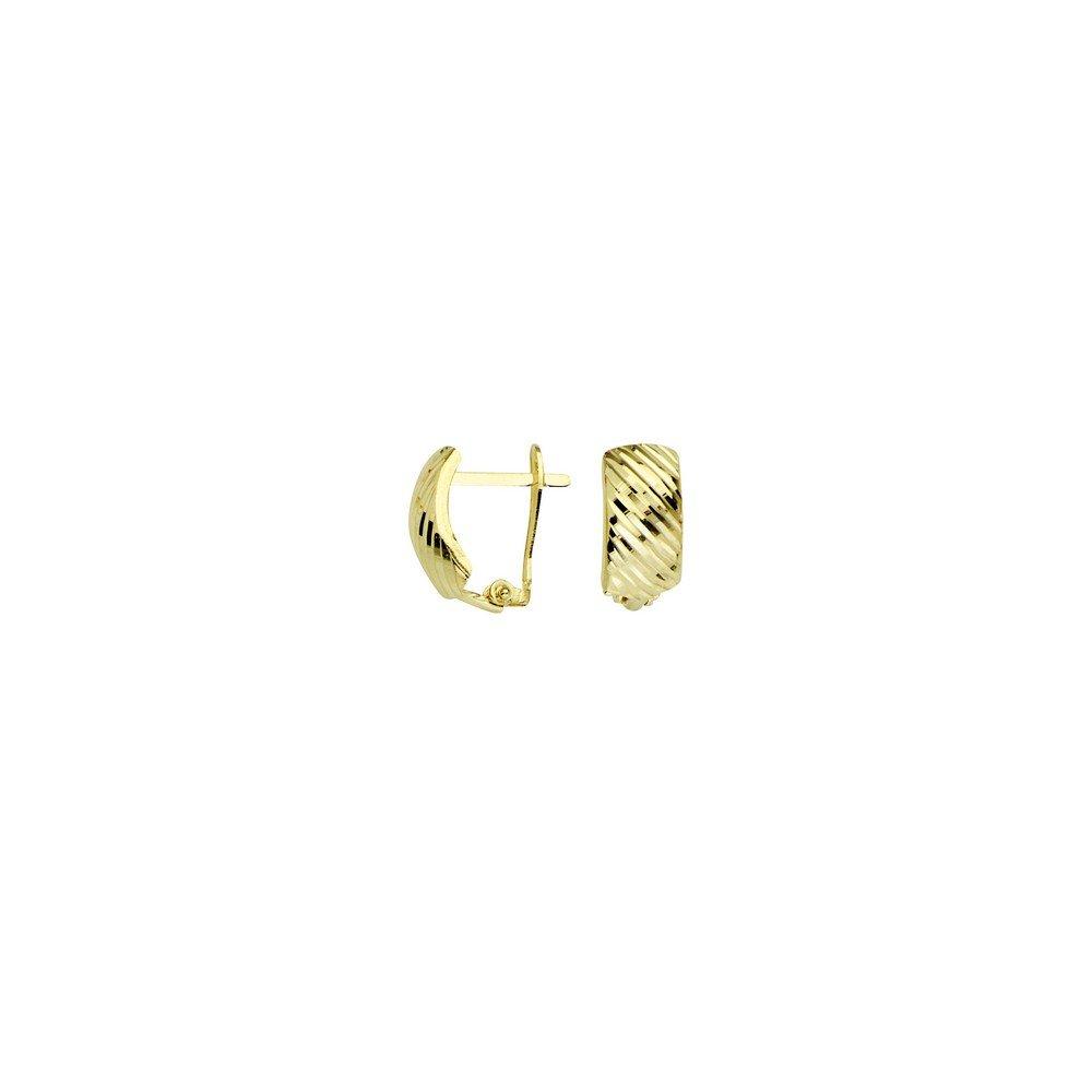 10k Yellow Gold Diagonal Diamond-cut Clip Back Earrings