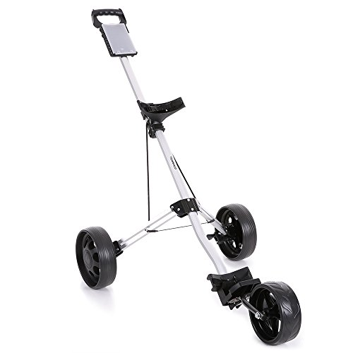 TOMSHOO 3 Wheels Golf Push Cart Foldable Aluminum Pull Cart Trolley with Footbrake System by TOMSHOO (Image #9)
