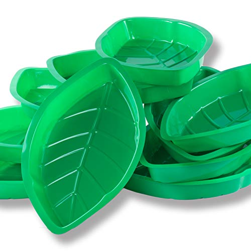 (Palm Leaf Hawaii Style Food Reusable Snack Tray, Cookies, Chips, Candy Dip for Jungle Island Themed Party Decorations Platter (12 Pack, 11.75
