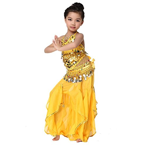 Isis Costume Video (Kid's Belly Dance Girl Halter Top, Harem Pants, Halloween Costumes Set , yellow)