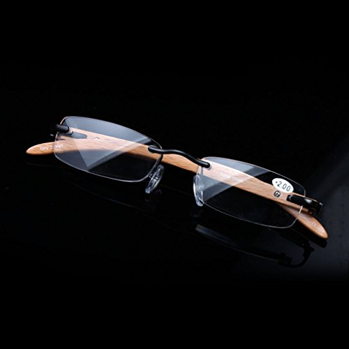 Elderly reading glasses natural wood rimless glasses glasses box visual barrier (3.0) by oudlme (Image #6)