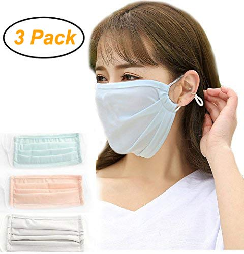 Women Girls Ice Silky Cool Flu Dust Masks, Summer Breathable UV Block Sun Protection Mask for Face Reusable Outdoor Sports Cycling Anti Pollution Pollen Allergy Mouth Masks 3 Pack]()