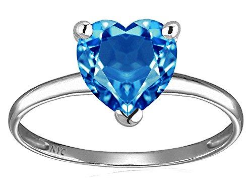(Star K Genuine Blue Topaz Heart Shape 8mm Solitaire Engagement Ring 10 kt White Gold Size 4)