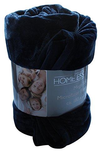 Premium Soft Mega Wohndecke ca. 180 x 220 cm Farbe: dunkelblau unifarben exklusive XL Mikrofaser Microfaser Decke Flanell mit Einfassung Kuscheldecke Tagesdecke Sofaüberwurf