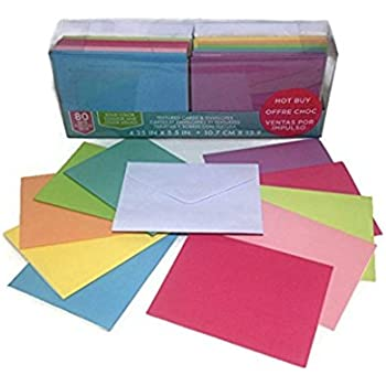 Craft Smith Textured Blank Cards and Envelopes 80 Sets Assorted Solid Colors 4.25x5.5
