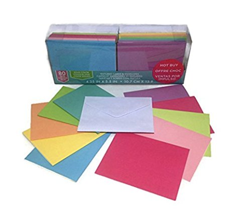 Craft Smith Textured Blank Cards and Envelopes 80 Sets Assorted Solid Colors - Craft Supplies Envelopes