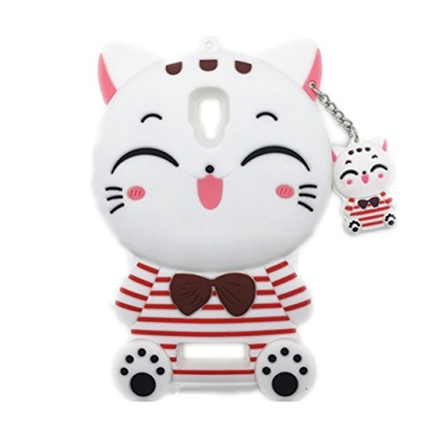 Anya 3D Cute Lovely Cartoon Animal Series Style Cute Bow Tie Stripe Lucky Fortune Plutus Cat Soft Rubber & Silicone Shell Case Cover for Lenovo A2010 White
