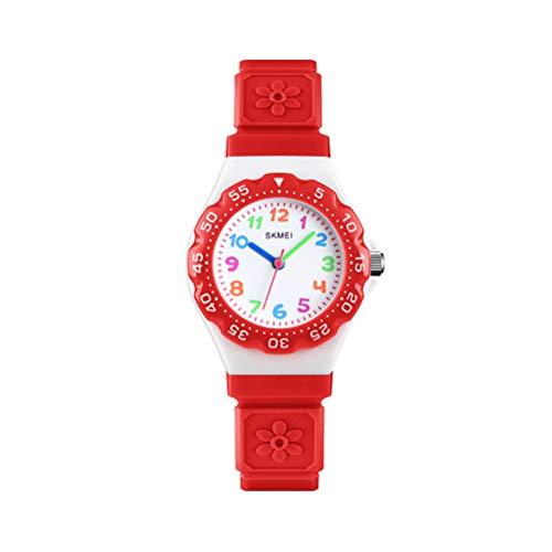 Hemobllo Relojes para niños Lindo 50M Adolescentes Impermeables Estudiante Cuarzo Reloj de Pulsera PU Banda para niños...